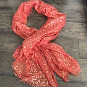 Accessories - Coral & metallic gold scarf/ wrap